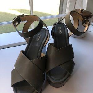 Michael Michael Kors Womens Abbott Leather Wedges